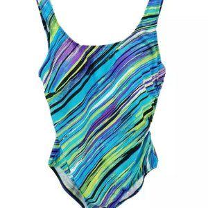 Beach Belle Womens 1 Piece Swimsuit Blue Stripe